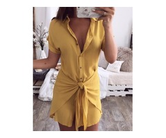 Solid Button Up Knot Front Mini Shirt Dress
