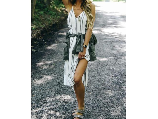 Deep V Striped Print Slit Side Casual Dress | free-classifieds.co.uk