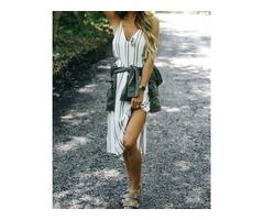 Deep V Striped Print Slit Side Casual Dress