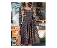 Plaid Print Long Sleeve Belted Pleated Dress