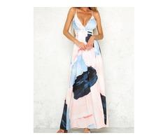 Color Block Strappy High Slit Maxi Plunge Dress