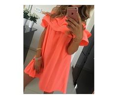 Stylish Flounced Off Shoulder Pleated Tunic Dress