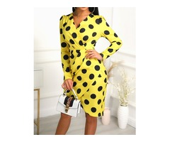 Dots Print V-Neck Wrap Irregular Dress