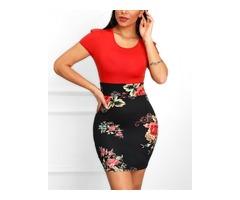 Floral Print Short Sleeve Insert Dress