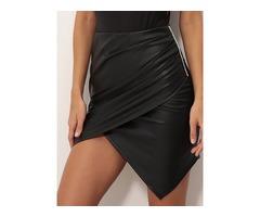 Side Hot Drilling Design Ruched Irregular Skirt