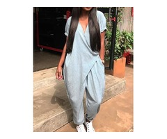 Stylish Pocket Wrapped Harem Jumpsuit
