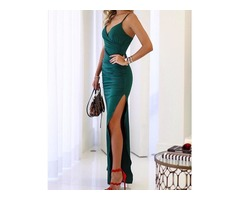 Spaghetti Strap Scrunch Thigh Split Evening Dress