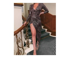 Glitter Plunge Surplice Wrap Slit Irregular Dress