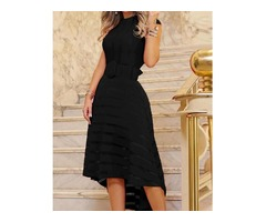 Mesh Insert Belted Dip Hem Dress