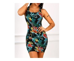 Floral Print Racer-Back Bodycon Dress