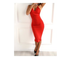 Spaghetti Strap Wrap Bodycon Dress