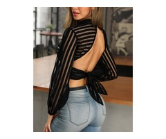 Sheer Mesh Striped Backless Top
