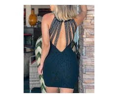 Rivet Multi-Strap Back Bodycon Dress