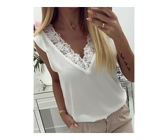 V-Neck Lace Insert Casual Top