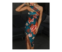 One Shoulder Floral Print Bodycon Dress