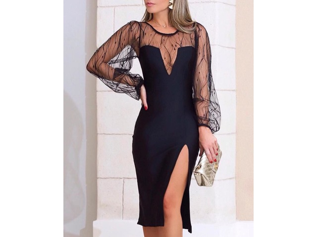 Sheer Mesh Insert Slit Bodycon Dress | free-classifieds.co.uk