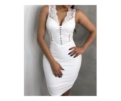 Lace Splicing Sleeveless Bodycon Dress | free-classifieds.co.uk