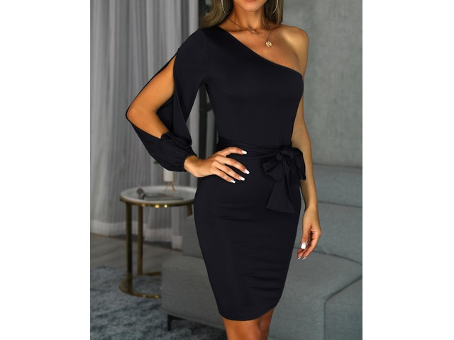 One Shoulder Slit Sleeve Bodycon Dress | free-classifieds.co.uk