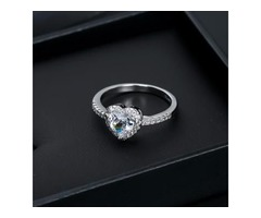 Silver color Heart shaped ring for ladies