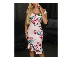 Off Shoulder Floral Ruffle Trim Bodycon Dress