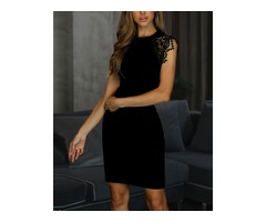 Lace Crochet Insert Bodycon Dress