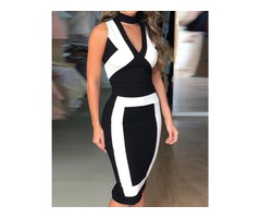 Colorblock Sleeveless Cut Out Bodycon Dress