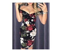 Off Shoulder Cutout Front Floral Dress