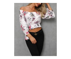 Off Shoulder Floral Print Casual Blouse