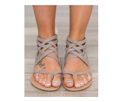Sexy Caged Strap Zipper Back Closure Flat Sandals