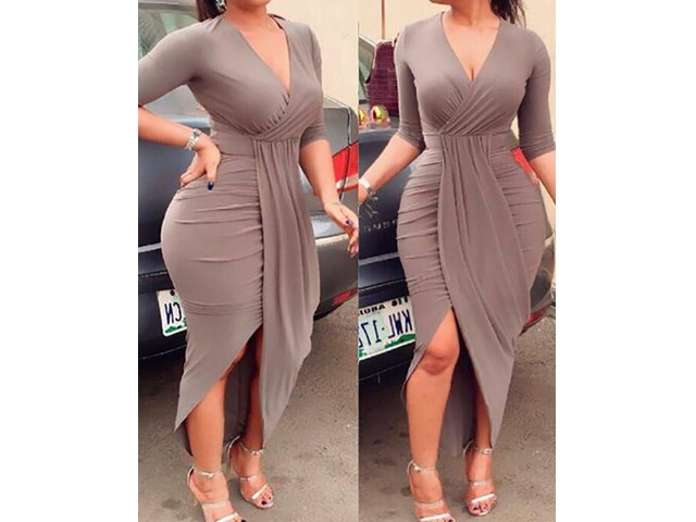 Long Sleeve Deep V Neck Split Ruched Wrap Bodycon Dress Cocktail Dress | Free-Classifieds.co.uk