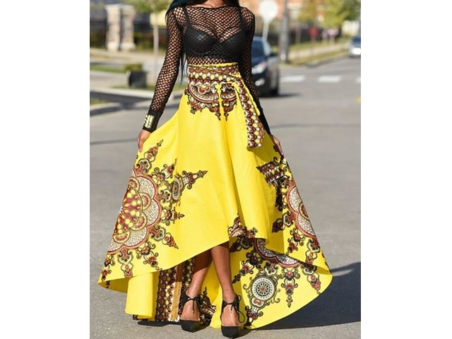 Trendy Ethnic Style High Waist High-Low Maxi Skirt | Free-Classifieds.co.uk