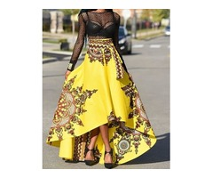 Trendy Ethnic Style High Waist High-Low Maxi Skirt