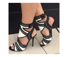Contrast Color Cut Out Strappy High-heel Sandals
