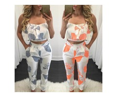 Fashion Women Flounced Print Cropped Twinset