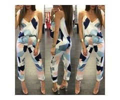 Trendy Color Block Spaghetti Strap Casual Pantsuit