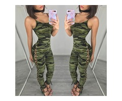 Sexy Camouflage Print Lace-up Skinny Jumpsuit