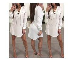 Sexy Lace-up Grommet Patchwork Casual T-shirt Dress