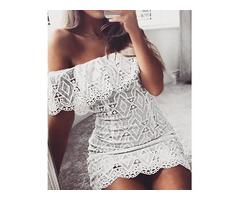 Fashion Lace Crochet Off Shoulder Scalloped Bodycon Dress