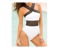 Sexy Women's Splice Elastic Band Halter Monokini Swimsuit Jumpsuit Bathing Suit Beachwear