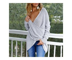 Deep V Wrapped Casual Sweater