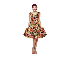 Vintage Rose Pattern Women's 1940s 1950s Classy Floral Pattern Vintage Retro Rockabilly Dress