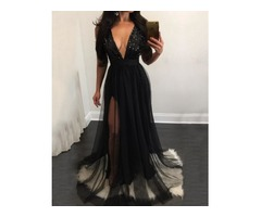 Hot Sequined Mesh Pleated Deep V Maxi Dress