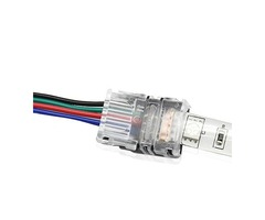 LUSTREON 4pin 10MM Wire Connector for Waterproof RGB LED Strip Light