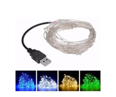 5M 50leds USB Silver Wire String Fairy Light for Wedding Christmas Party Decor