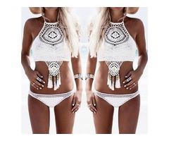 2 Pcs Crochet Back Tie Tassel Bikini Set