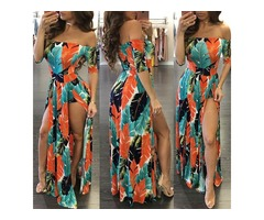 High Slit Off Shoulder Print Maxi Romper Dress