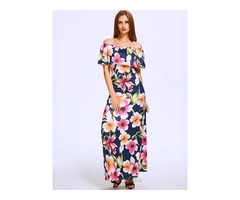 Slash Neck Lotus Leaf Maxi Chiff Dress Floral Style Print Long Sleeveless Dress
