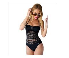 1PC Women's Sexy Hollow Lace Floral Swimwear Monokini Push Up Swimsuit  Beachwear