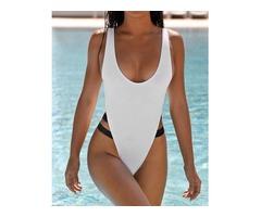 Low Cut Bandage Patchwork One-Piece Swimwear