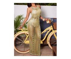 Sexy Split Crochet Beach Maxi Dress Cover Up